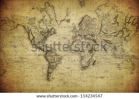 vintage map of the world 1814 Royalty-Free Stock Photo #114234547