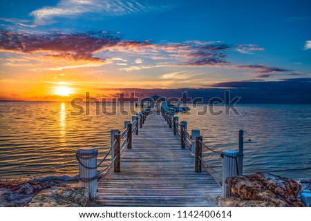 Islamorada Florida Keys Dock Pier Sunrise #1142400614