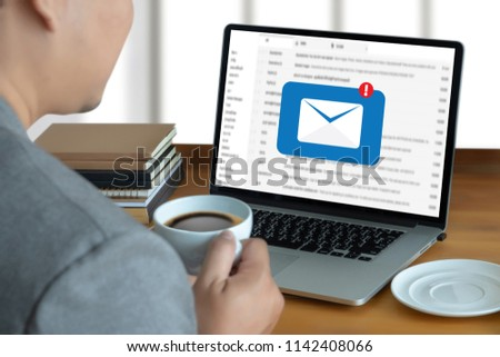 Mail Communication Connection message to mailing contacts phone Global Letters Concept #1142408066