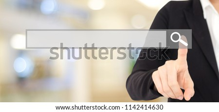 Blank search bar, Businesswoman hand touching search engine optimization, web banner over blur office background, business and technology concept #1142414630