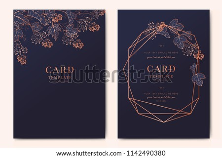 Wedding Invitation, floral invite thank you, rsvp modern card Design in copper peony with navy blue and tropical palm leaf greenery eucalyptus branches decorative Vector elegant rustic template Royalty-Free Stock Photo #1142490380