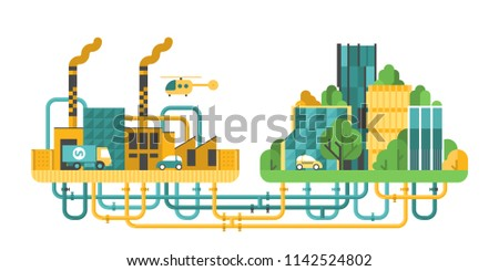 Provision of the city with resources. Communication under the city. Factory. Modern city. Royalty-Free Stock Photo #1142524802