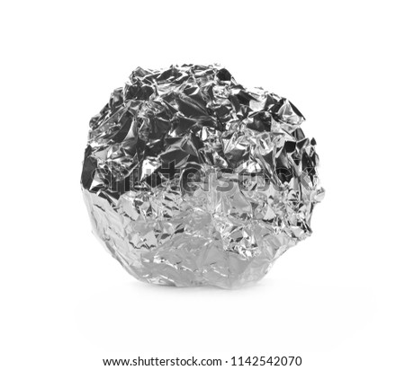 Crumpled aluminum foil ball isolated on white background #1142542070