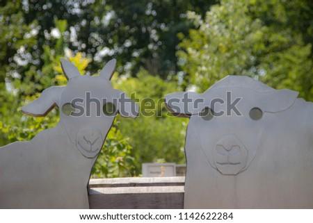 Sheep heads made of metal