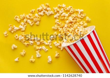 Popcorn viewed flat lay popcorn Love with movie #1142628740
