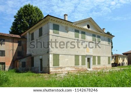 Cessalto of Treviso, Veneto, Italy – jul 24 2018: Villa Zeno, designed by Andrea Palladio architect, year 1570, south facade. #1142678246