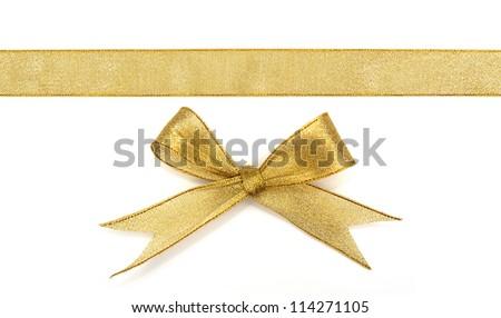 golden ribbon isolated on white Royalty-Free Stock Photo #114271105