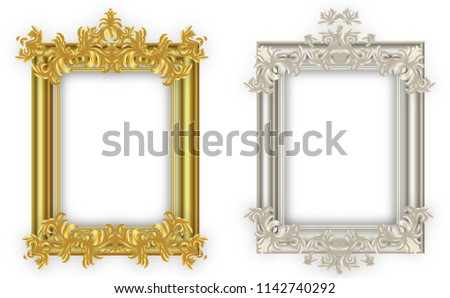 Gold frame and Silver frame. with borders floral Baroque for picture.Set of Decorative vintage frames and borders.Vector design  vintage and luxury decoration pattern style.on isolate Background. #1142740292