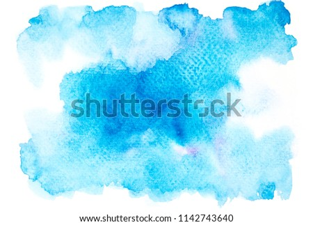 abstract beautiful blue watercolor splashing background.color shades by hand drawing #1142743640