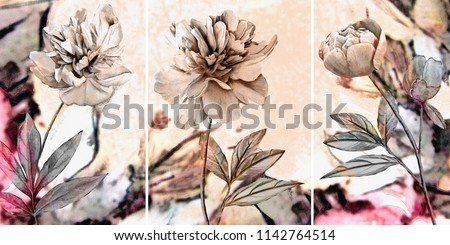 Collection of designer oil paintings. Decoration for the interior. Modern abstract art on canvas. Set of pictures with different textures and colors. Pink peonies.