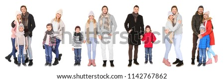 Set with people in warm clothes on white background. Ready for winter vacation