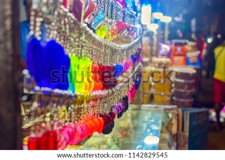 Hanging key chains at shop #1142829545