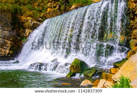 Waterfall mountain view close up. Mountain river waterfall landscape. Waterfall river scene #1142837309