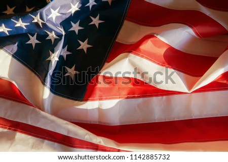 American flag waving background. Independence Day, Memorial Day, Labor Day #1142885732
