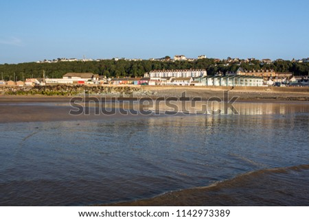 Westward Ho! town sea front in Devon , England Royalty-Free Stock Photo #1142973389