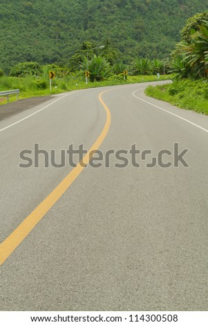 Curve road beside mountain. #114300508