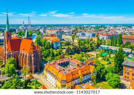 Aerial view of Wroclaw with church of the Holy Cross and St Bartholomew, Poland