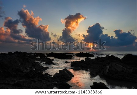 A beautiful morning light at Pantai Pandak, Kuala Terengganu, Malaysia soft and grain effect. #1143038366