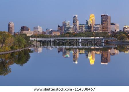 Minneapolis. Image of Minneapolis downtown skyline at twilight.