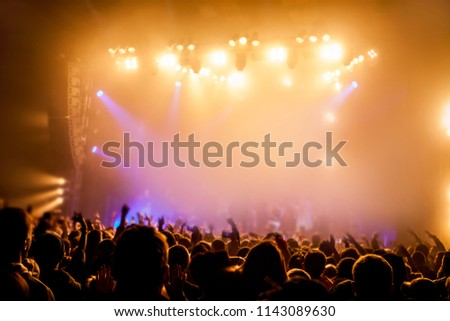 Musical concert. Music festival. People in the concert hall at the disco . Singer in front of the audience. Fans at the concert. Blurred image / blurred photo. #1143089630