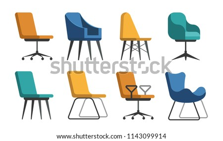Set of vector chairs of different colors and shapes. Cartoon flat illustration #1143099914