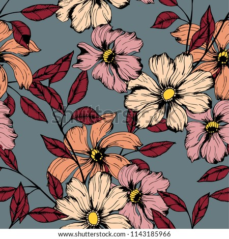 Elegance pattern with flowers and leaf.Floral vector illustration.  #1143185966