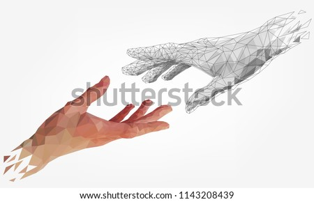 Low polygonal hands, human and robot arms, partnership of people and robots, computer graphics Royalty-Free Stock Photo #1143208439