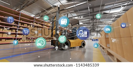 View of a Logistic organisation on a warehouse background 3d rendering Royalty-Free Stock Photo #1143485339