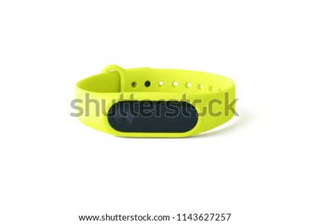 Fitness bracelet or tracker isolated on white background. Front view of smart gadget #1143627257