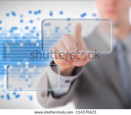 Businessman choosing one of three buttons on blue and white #114370621
