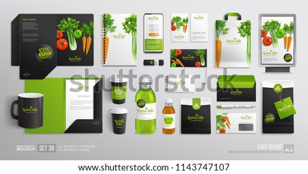 Corporate Branding identity Mock-Up set Organic Food for Vegan Cafe, restaurant and natural food shop. Vegetal Logo template with vector vegetables. Stationary mockup organic package, juice bottle Royalty-Free Stock Photo #1143747107