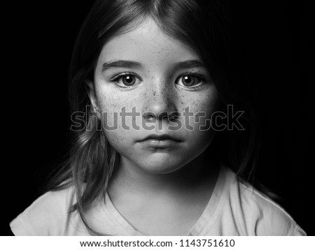 Black and white portrait of young girl #1143751610