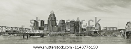 Panorama city view from across the river