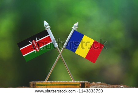 Romania and Kenya small flag with blur green background #1143833750