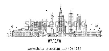 Warsaw skyline, Poland. This illustration represents the city with its most notable buildings. Vector is fully editable, every object is holistic and movable #1144064954
