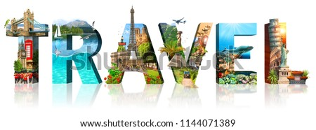 Travel. Collage of famous places of the world. Element for Advertisement, postcard, poster, and more. Isolated on white  #1144071389