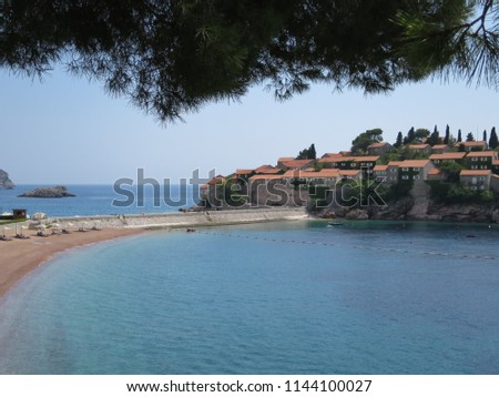 The beautiful natural delicious magnificent image of the view of the old seaside resort town on the summer hot sunny day.   #1144100027
