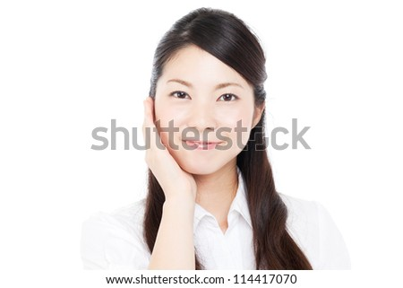 Beautiful businesswoman on white background. Portrait of asian. #114417070