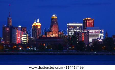 The Buffalo, New York city center as darkness falls