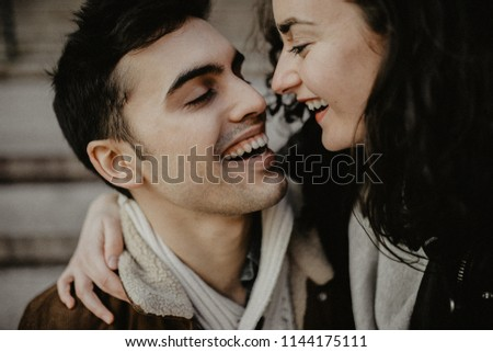 Close up portrait of lovers couple smile and kissing #1144175111
