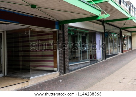 A high street in decline, Longton, Stoke on Trent, Staffordshire, derelict, abandoned shops, stores leave the high street unrecognisable, The potteries #1144238363
