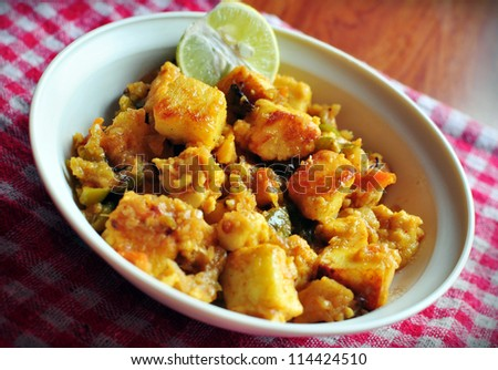 Freshly cooked Asian cottage cheese, paneer starter #114424510