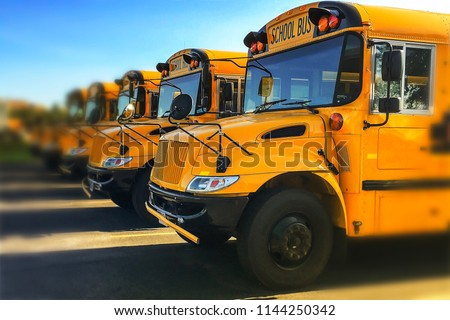 Row of yellow school buses parked inline with blurred background and sky reflecting off of windshields #1144250342