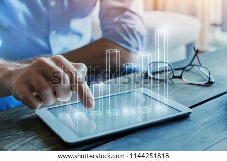 business intelligence concept, financial analytics with 3d column chart #1144251818