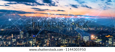 Smart city and communication network concept. IoT(Internet of Things). ICT(Information Communication Network). #1144305950