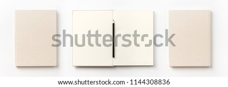 Business concept - Top view collection of  light yellow fabric notebook front, back , pen and white open page isolated on background for mockup #1144308836