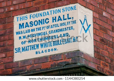 Wallsend, Tyne and Wear / England - July 29 2018: Foundation stone for Masonic Hall for freemasons in Wallsend, the north of England #1144380254