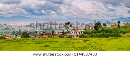 Panoromic aerial view of Kathmandu City Capital of Nepal,Bird Eye View Kathmandu City with himalayas mountains at the background,Top View of Kathmandu City. #1144387433