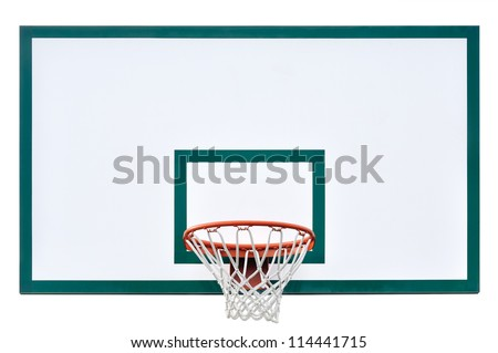 Basketball hoop cage, isolated large backboard closeup, new outdoor court set, green, red, orange, white back board blank copy space background #114441715