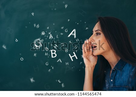 School, English lesson ourse of studying a foreign language. Royalty-Free Stock Photo #1144565474